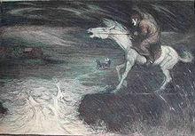 Desenul unui cal alb nechezat călărit de un bărbat cu spatele îndoit care pare să observe o inundație devastatoare.