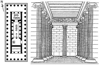 Bassae Frieze - Reconstruction of the temple showing the frieze in situ, note the Corinthian column, a.