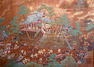 Battle of Ueno - Depiction of the battle of Ueno at Kan'ei-ji Temple