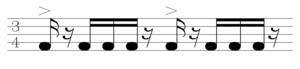 Batuque (music and dance) - Rhythmic model of the batuque, ± 112 bpm.