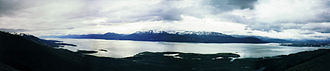 Puerto Williams - Beagle Channel seen from above Puerto Williams.