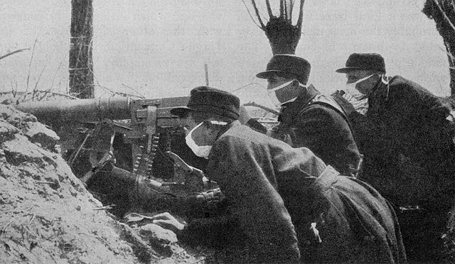 Belgian troops engaged in trench warfare