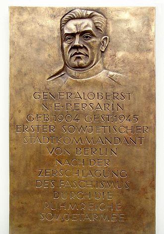 Nikolai Berzarin - Memorial plaque at Bersarinplatz, Berlin-Friedrichshain