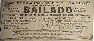 Margarida de Abreu - Ticket of a CIC ballet performance at TNSC, 1949