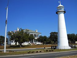 The Biloxi Lighthouse and the Biloxi Visitors Center in November 2011. The lighthouse is the city's signature landmark.