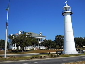 Biloxi, Mississippi - The Biloxi Lighthouse and the Biloxi Visitors Center in November 2011. The lighthouse is the city's signature landmark.