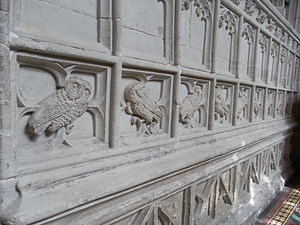Hugh Oldham - Some of about 59 sculpted owl rebuses on the walls, ceiling and tomb in the chantry chapel of Bishop Oldham