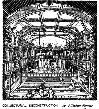 Blackfriars Theatre - Conjectural reconstruction of the second Blackfriars Theatre from contemporary documents.