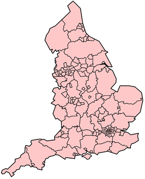 Map showing top-level local authorities in Eng...