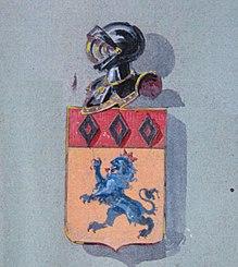 D'or, à un lion d'azur, armé et lampassé de gueules, et un chef cousu de gueules, chargé de trois macles d'argent.