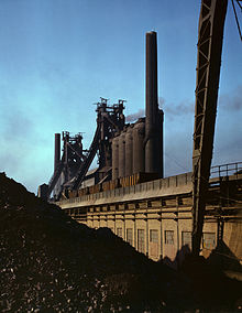 Blast furnaces and iron ore at the Carnegie-Illinois Steel Corporation mills, Etna, Pennsylvania.jpg
