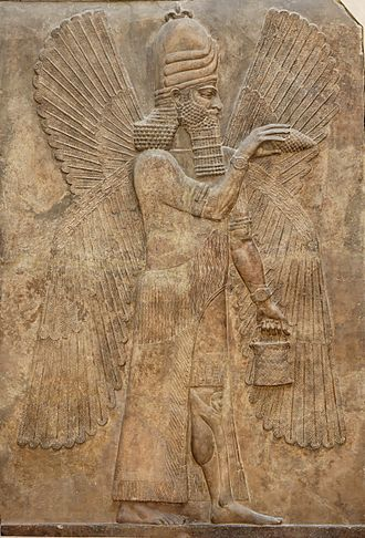 Winged genie - A four-winged genie in the Bucket and cone motif. Relief from the north wall of the Palace of king Sargon II at Dur Sharrukin, 713–716 BC.