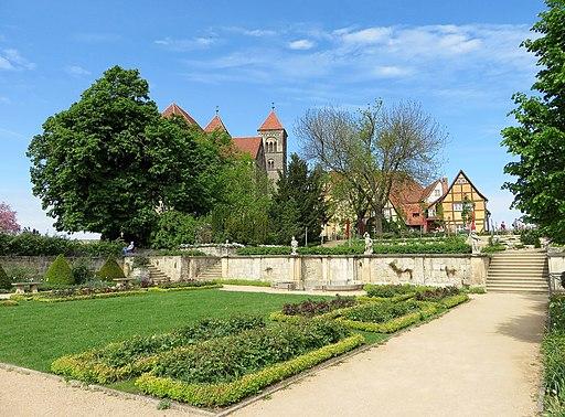 Blick von der Gartenterrasse auf die Stiftskirchr St. Servatius in Quedlinburg