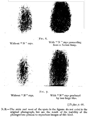 "Pathological science - Fig. 6,7 from Prosper-René Blondlot: ""Registration by Photography of the Action Produced by N Rays on a Small Electric Spark"". Nancy, 1904."