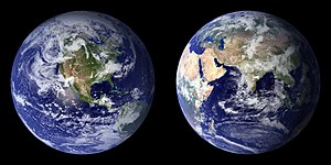 Environmental science - Blue Marble composite images generated by NASA in 2001 (left) and 2002 (right)