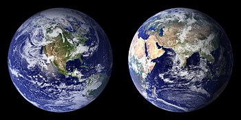 Blue Marble composite images generated by NASA...