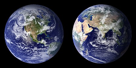 Blue Marble composite images generated by NASA in 2001 (left) and 2002 (right) BlueMarble-2001-2002.jpg