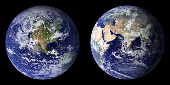 Composite images of Earth generated by NASA in 2001 (left) and 2002 (right)