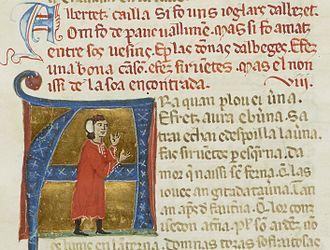 "Albertet Cailla - Albertetz cailla si fo uns ioglars dalbezet. . . ""Albertet Cailla was a jongleur from Albezet. . ."""