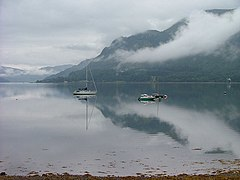 Boats moored on Loch Duich - geograph.org.uk - 223458.jpg