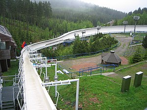Altenberg bobsleigh, luge, and skeleton track - Ziel kurve