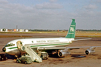 Pakistan International Airlines - A Boeing 720 at Heathrow Airport, circa 1962