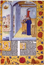 Lady Philosophy and Boethius from the Consolation, (Ghent, 1485)
