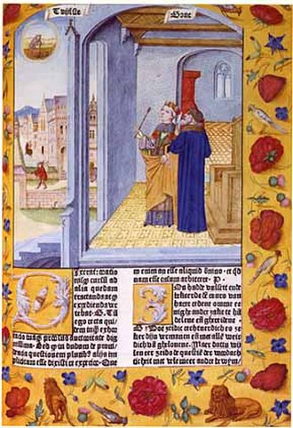 Boethius - Lady Philosophy and Boethius from the Consolation, (Ghent, 1485)