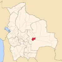 ボリビア内のアンドレス・イバニェス郡の位置の位置図