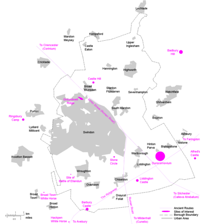 A map of selected Historical Sites in the Borough of Swindon