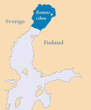 Map of the Gulf of Bothnia showing location of Bothnian Bay (shaded and labelled Bottenviken)