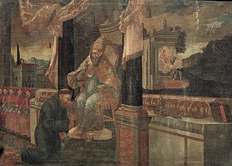 Juan Antonio García de Bouzas - Approval of the Franciscan Order by Juan Antonio Bouzas, Oil on canvas, 170 x 234 cm, Ourense Provincial Archaeological Museum