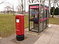 Bovington, postbox No. BH20 287 and phones, Gaza Road - geograph.org.uk - 1708396.jpg