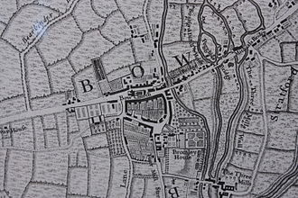 Bow, London - Bow as shown on John Rocque's map of London, 1747