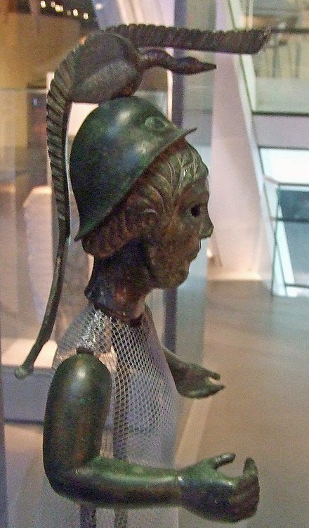 A statuette probably depicting Brigantia (or Brigid), with iconography derived from Roman statues of Minerva, first century AD, Museum of Brittany, Rennes BrigitteCelt.jpg
