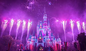 Brilliant fireworks over the Cinderella castle, Magic Kingdom.jpg