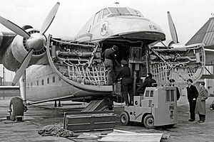 Rubery Owen - Warrington-built Conveyancer fork lift truck loading a Bristol 170 Freighter aircraft at Manchester Airport in 1952