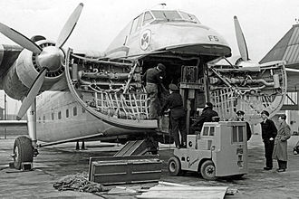 Bristol Freighter - Bristol Freighter operated by Aer Lingus being loaded through the clamshell nose doors in 1952
