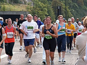 Road running - People taking part in the Bristol Half Marathon