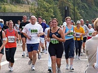 Road running - People taking part in the Bristol Half Marathon
