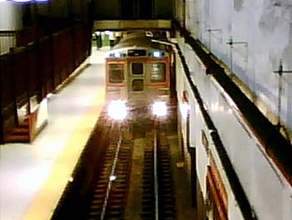 Broad Street Line - A Broad Street Subway express train arrives at City Hall Station.