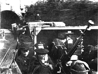 Siege of Sevastopol (1941–42) - Soviet Black Sea Fleet sailors man an armored train anti-aircraft gun in Sevastopol in 1942.