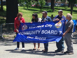 Bronx Community Board 7 - Bronx Community Board 7 members at the 2017 Bronx Day parade on Mosholu Parkway. Adaline Walker Santiago, the Community Board's Chairwoman is second from left.
