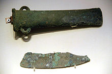 Bronze axe & copper knife, Qijia Culture, Gansu.jpg
