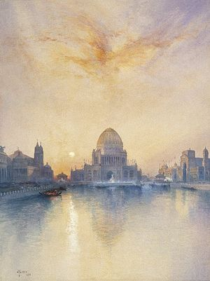 World's Columbian Exposition - Thomas Moran - Chicago World's Fair - Brooklyn Museum painting of the Administration Building