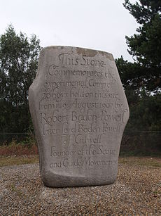 stone memorial of the first Scout camp
