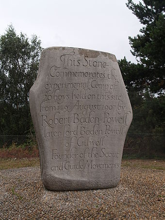 Stone on Brownsea Island commemorating the experimental camp. Brownsea Island Stone Scout Camp 5.JPG