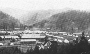 """Coeur d'Alene, Idaho labor confrontation of 1899 - The temporary wooden prison built in Wardner, Idaho, popularly called """"the bullpen."""""""