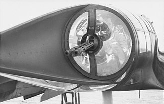 Focke-Wulf Fw 189 - Close up view of an Ikaria-designed twin barrel machine gun mounting in the crew nacelle's tail cone.