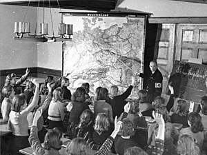 Evacuations of children in Germany during World War II - KLV children from Berlin in Glatz during a geography lesson, October 1940